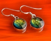 Handmade Dichroic Glass Earrings Sterling Silver .925 ...color changing...