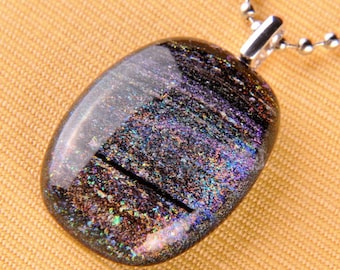 Handmade Dichroic Silver Fused Glass Silver Pendant Necklace ...with chain...
