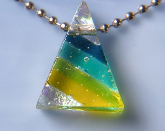 Handmade Dichroic Fused Glass Focal Bead Pendant Necklace