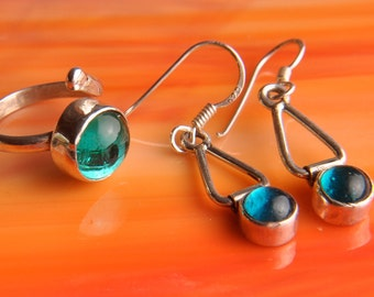 Handmade Sterling Silver Fused Glass Earrings and Ring .925 ...free gift...