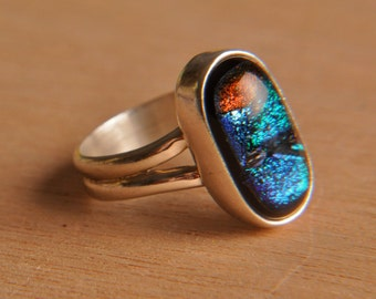 Handmade Dichroic Fused Glass Sterling Silver .925 Size 6 Ring