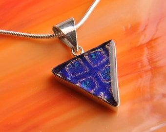 Handmade Dichroic Fused Glass Sterling Silver .925 Pendant Necklace