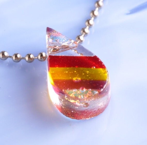 CLeArAnCe Handmade DICHROIC Fused Glass Pendant Necklace