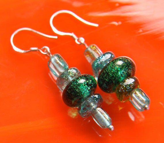 Handmade DICHROIC Glass Earrings Sterling Silver .925