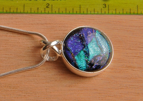 Solid .925 Sterling Silver and Handmade Dichroic Fused Glass Pendant Necklace