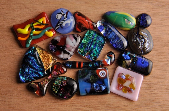 Handmade Dichroic Fused Glass Cabs Cabochons Beads lot of 16