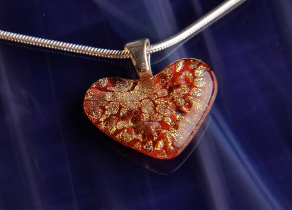 Handmade Heart Dichroic Fused Glass Silver Pendant Necklace