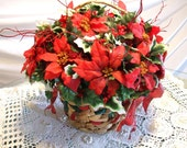 Lush and Lovely-Large Red Poinsettia Basket Centerpiece