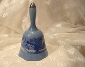 Vintage Currier and Ives Blue and White Christmas Bell