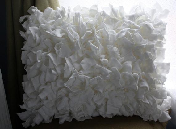 Shabby Chic White Throw Pillows : Minky Dot White Shabby Chic Ruffle Throw Pillow
