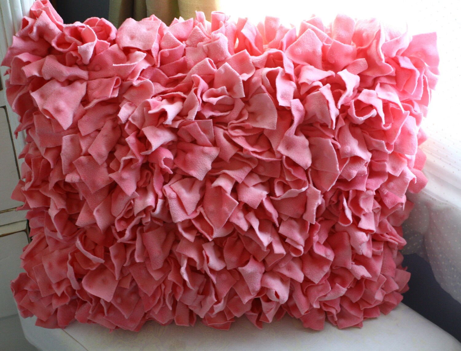 Pink Ruffled Throw Pillows : Pink Shabby Chic Ruffle Throw pillow