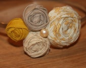 Sierra - Mustard yellow and cream anthropologie inspired Rosette headband/hair piece