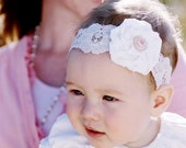 RUTH - cream and pink lace rose headband - child or baby