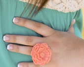 The Poppy - large coral pink cabochon flower ring