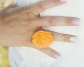 The Poppy - large Tangerine cabochon flower ring