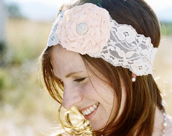 RUTH - Cream and peach lace rose headband
