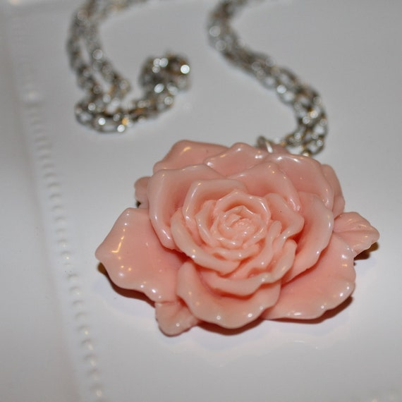 French Rose - Pink - large flower pendant necklace