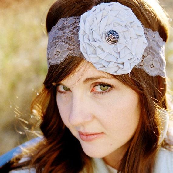 RUTH - light and dark gray lace rose headband