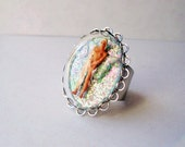 "Miniature Diorama Snow Globe Adjustable Silvertone Ring ""Real Captured Fairy"" OOAK"