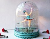 Ballerina Snow Globe Robin's Egg Blue and Rose Red