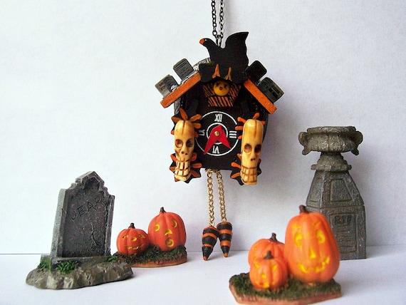 Gunmetal Halloween Cuckoo Clock Locket Spooky Cuckoo