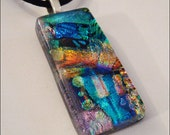 Dichroic glass jewelry - multicolor pendant  necklace - three dimensional