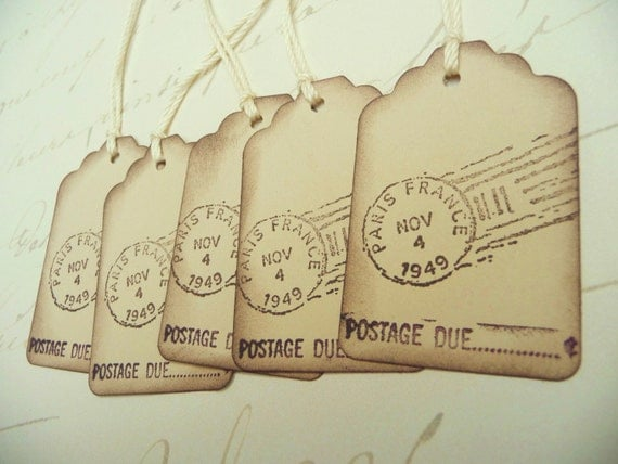 Vintage style french inspired PARIS mini GIFT TAGS - Postage Due - Set of 10