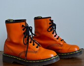 Vintage Late 1980s Orange Doc/Dr Marten 8 Eye Lace-Up Combat Boots. UK size 4.5/US size 6.5-7.5