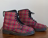 Vintage Late 1980s/1990 Red Plaid Fabric Doc/Dr. Martens 8 Eye Lace-Up Girly Vegan Ankle Boots. UK size 7 / US size 9