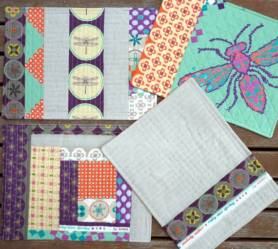A Set of FOUR Ruby Star Placemats -  Reversible
