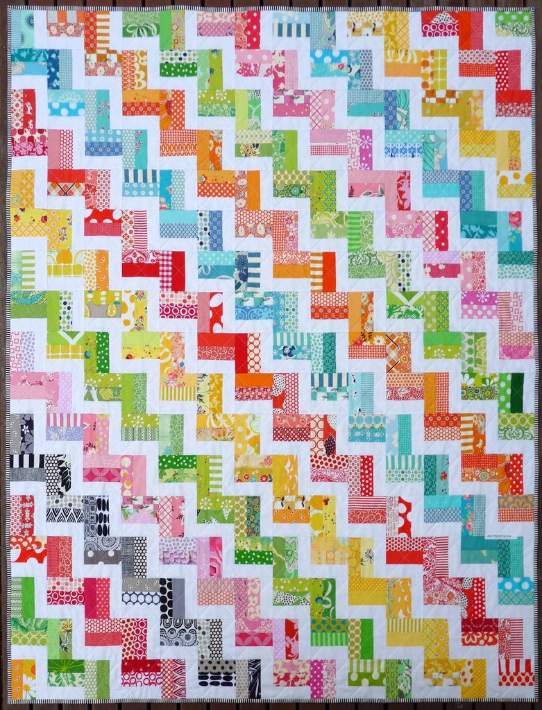 Hello Zig Zag Quilt Pattern : Zig Zag Rail Fence Quilt Pattern PDF by Red Pepper Quilts
