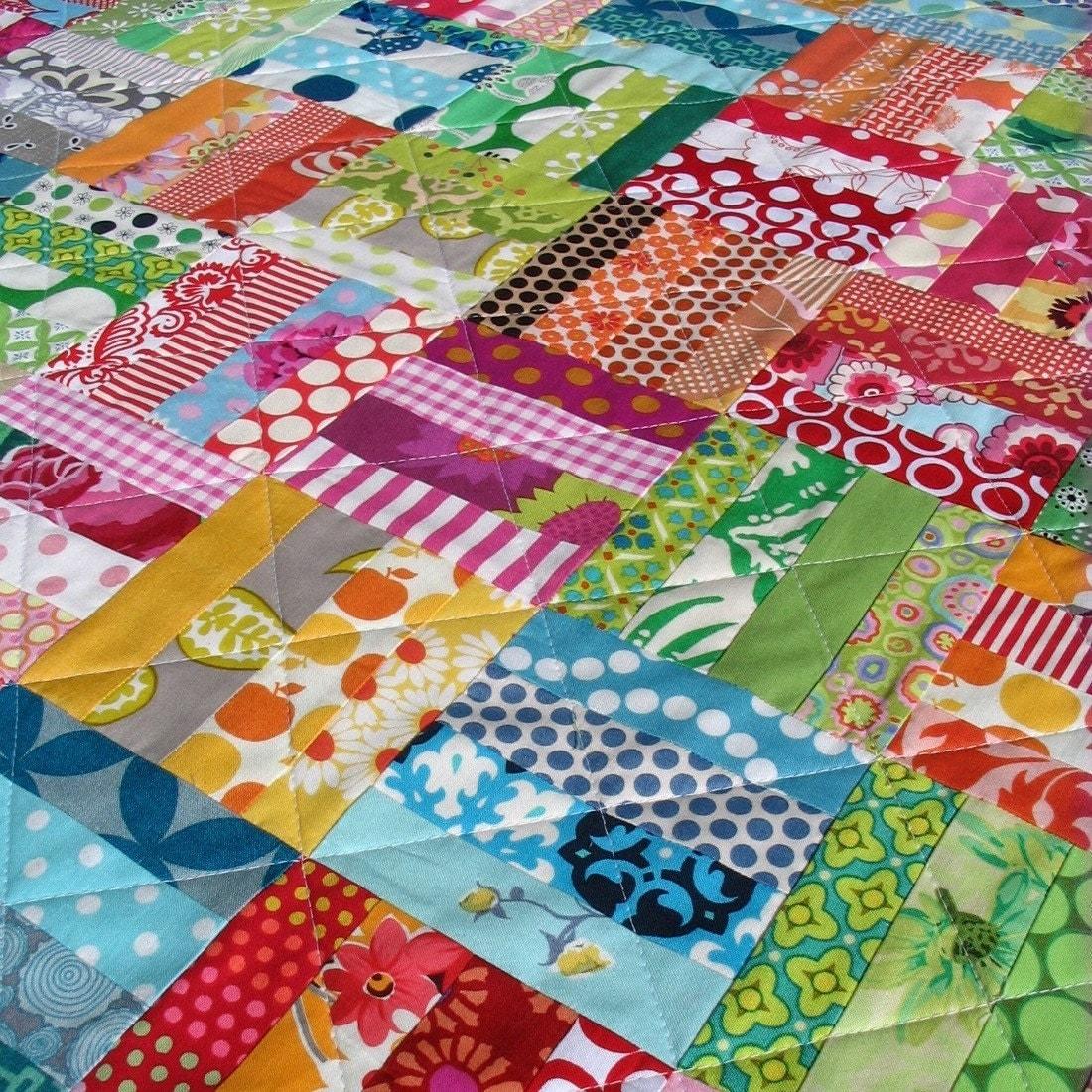 Colorful patchwork scrap quilt for Scrap quilt