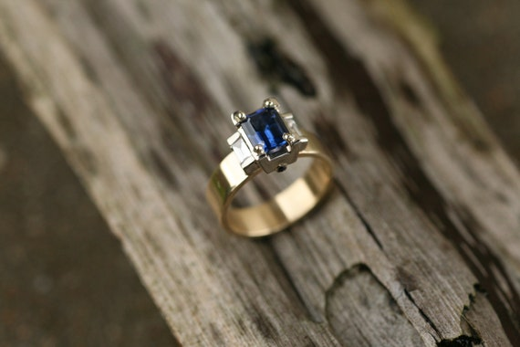 Natural Blue Sapphire and Diamond Ring in 14K Gold