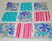 Moda Dilly Dally Girl Pink Aqua Flower Rag Security Quilt Cotton Flannel