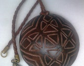 Tribal Rounded Handcarved Polymer Clay Necklace