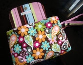 Diaper Wristlet - All Purpose Purse/Pouch - Blooms and Paisley in Multi Color - Brother Sister fabric