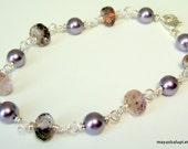 Bracelet  Moss Amethyst . Silver Wire Wrapped Swarovski Pearls