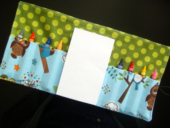 Mini Coloring Wallet - Hooty Hoot Kangaroo in Blue - Riley Blake fabric - Notepad and Crayons included