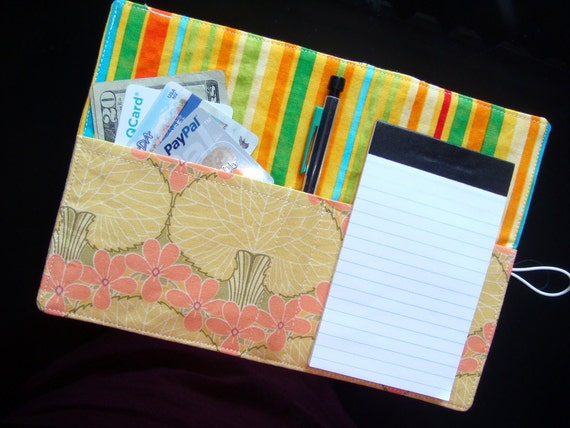 Mini List Taker - Nouveau Trees in Mustard  - Amy Butler fabric - Ruled pad and Pen/Pencil included - LAST ONE