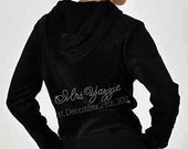 Rhinestone Bride Velour Hoodie and Pants Set -  Personalized with Future Last Name & Est. Date