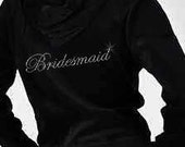 Rhinestone Bridesmaid Velour Hoodie and Pants Set - Can be personalized with name