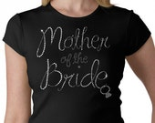 Mother of the Bride With a hanging Ring Rhinestone T-Shirt or Tank Top