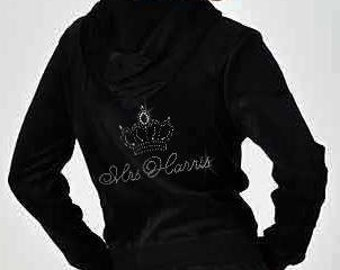 Personalized Rhinestone Bride Velour Hoodie and Pants Set with Big Crown - Great Bride Gift