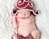 Gnome Hat - Wee Little Gnome Topper - Raspberry and Cream Swoosh Topper - Newborn