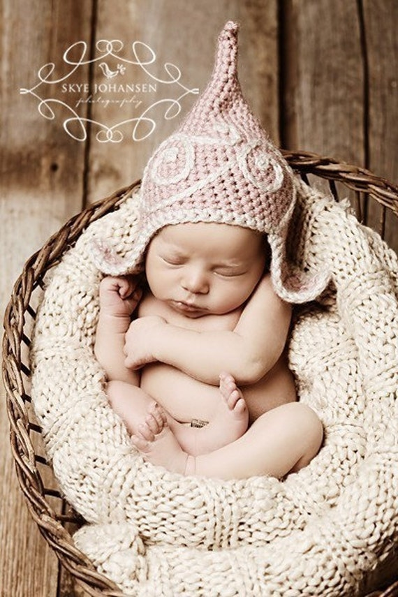 Gnome Hat - Wee Little Gnome Topper - Petal Pink Swoosh Topper - Newborn