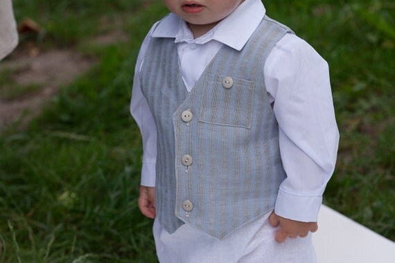 Special for Shannon. Natural linen striped grey / light blue vests