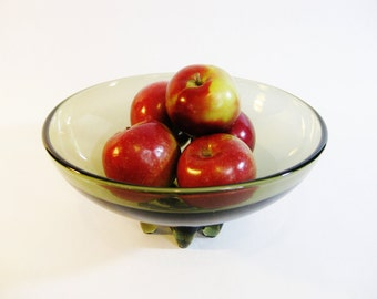 Mid Century Art Glass Footed Bowl Architectural