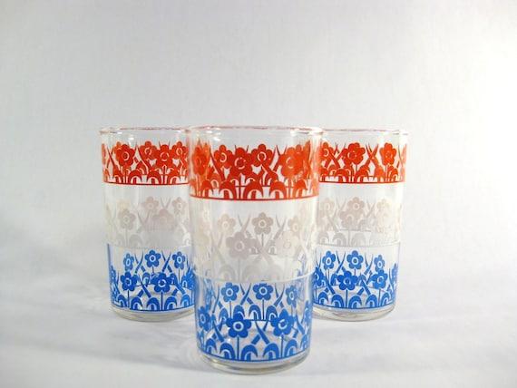 Trio of Floral Juice Glasses