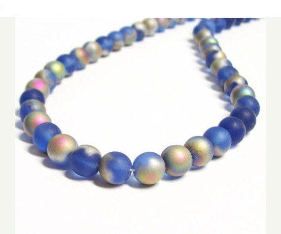 Czech Pressed Glass Druks - 8mm - Matte Sapphire Vitrail - 20 beads