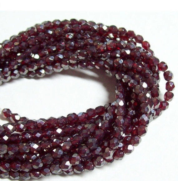 Czech Fire-Polished Glass Faceted Round - 4mm - Garnet Luster - 50 Beads